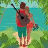 Romantische paaromhelzingen op het eiland royalty-vrije illustratie