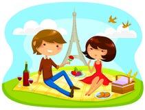 Romantische picknick royalty-vrije illustratie