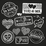 Romantische Portoschmutzbriefmarkensammlung Stockfotografie