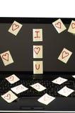 Romantische Post-Itanmerkungen Lizenzfreies Stockbild