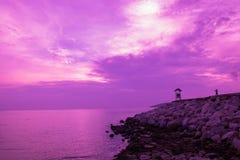 romantische purpere hemel stock foto