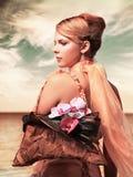 Romantische redhead vrouw stock foto