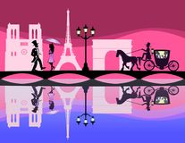 Romantische reis in Parijs Stock Afbeeldingen
