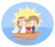 Romantische reis van jonggehuwden op een boot bij dageraad vector illustratie