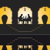 Romantische restaurantscène Royalty-vrije Stock Afbeelding