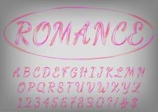 Romantische rode en purpere manuscriptlettersoort De liefdebrieven van de valentijnskaartendag Royalty-vrije Stock Fotografie