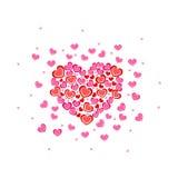 Romantische rosa und rote Zusammensetzung von Herzen Stockfotos
