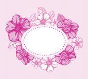 Romantische rosafarbene Blumenkarte Lizenzfreie Stockfotografie