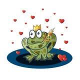 Romantische samenstelling Kikkerprinses, hart en magische pijl Stock Foto