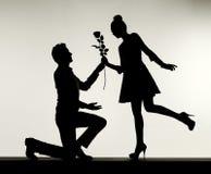 Romantische scène van het voorstel royalty-vrije stock foto's