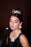 Romantische Schönheit Retro- Art Retro- Portrait der Frau Stockfotos