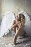 Romantische schoonheid als engel Stock Foto