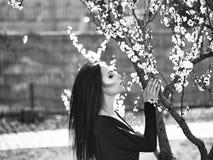 Romantische schoonheid in fantasieboomgaard Vrouw met bloeiende abrikoos Stock Afbeelding