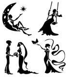 Romantische silhouetten Stock Foto