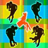 Romantische silhouetten van mannen en vrouwen vector illustratie