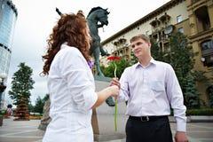Romantische Sitzung auf einem Datum Lizenzfreies Stockfoto