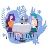 Romantische Sitzung von zwei Freundinnen in einem Café Sit trinkende Rebe in den Stühlen, haben Spaß und Entspannung von der Sitz lizenzfreie abbildung