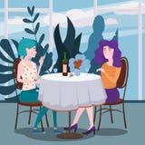 Romantische Sitzung von zwei Freundinnen in einem Café Sit trinkende Rebe in den Stühlen, haben Spaß und Entspannung von der Sitz vektor abbildung