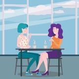 Romantische Sitzung von zwei Freundinnen in einem Café Sit trinkender Kaffee in den Stühlen, haben Spaß und Entspannung von der S lizenzfreie abbildung