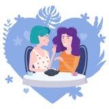 Romantische Sitzung von zwei Freundinnen in einem Café Sit trinkender Tee in den Stühlen, haben Spaß und Entspannung von der Sitz vektor abbildung