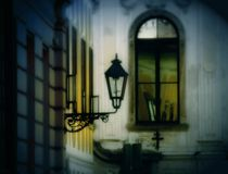 Romantische Stadtlampe Stockfoto