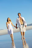Romantische strandgang Stock Fotografie