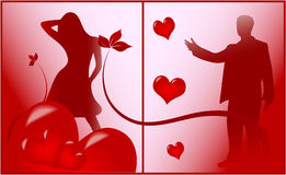 Romantische Szene der Liebe stock abbildung