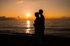 Romantische Szene der Liebe verbindet Partner Stockfotografie