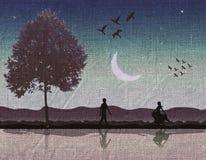 Romantische Szene gemalt auf Gewebe Stockbild