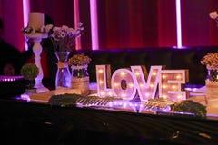 Romantische Tabelle für Hochzeiten Lizenzfreies Stockfoto