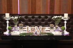 Romantische Tabelle für Hochzeiten Lizenzfreies Stockbild
