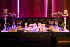 Romantische Tabelle für Hochzeiten Lizenzfreie Stockfotografie