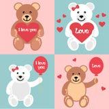 Romantische teddy met ballen en hart Royalty-vrije Stock Foto