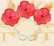 Romantische uitnodigingskaart met grote bloemen Stock Foto