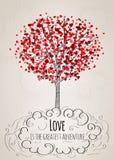 Romantische Valentine-kaart met een boom Stock Foto
