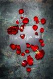 Romantische Valentinsgrußtageskarte mit roten Rosen, dem Blumenblatt, Herzen und Text, Draufsicht Lizenzfreies Stockfoto