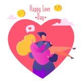 Romantische vectorillustratie op het thema van het liefdeverhaal Paar in liefde, mens die zijn geliefd meisje in zijn wapens het  vector illustratie