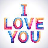Romantische veelhoekige Liefde en u conceptenkaart Stock Fotografie