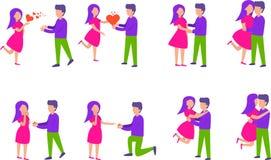Romantische Verrassing Paren in liefdereeks Vectorillustratie in vlakke die stijl op witte achtergrond wordt geïsoleerd vector illustratie