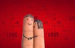 Romantische vingersdaling van liefde Stock Afbeeldingen