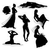 Romantische vrouwensilhouetten Stock Foto's