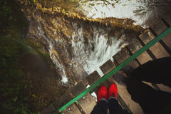 Romantische waterval voor twee Stock Foto's