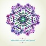 Romantische waterverfkaart met bloemen De groetauto van het decorontwerp stock illustratie