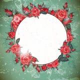 Romantische Weinlese Rose Frame Stockbild