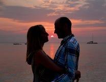 Romantische zonsondergang Stock Foto's