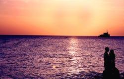 Romantische Zonsondergang Royalty-vrije Stock Afbeeldingen