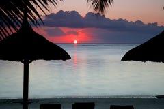 Romantische Zonsondergang in Mauritius Stock Afbeelding