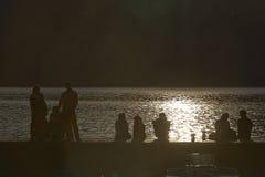 Romantische zonsondergang op Meer Garda Stock Foto's