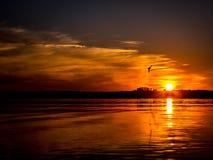 Romantische zonsondergang over het meer Royalty-vrije Stock Afbeeldingen