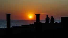 Romantischer Abend auf dem Damm Lizenzfreie Stockfotografie
